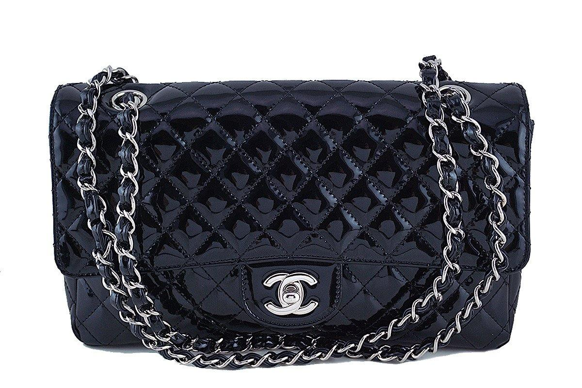 Chanel Black Glossy Patent Quilted Classic Label Flap Bag - Boutique Patina  - 1