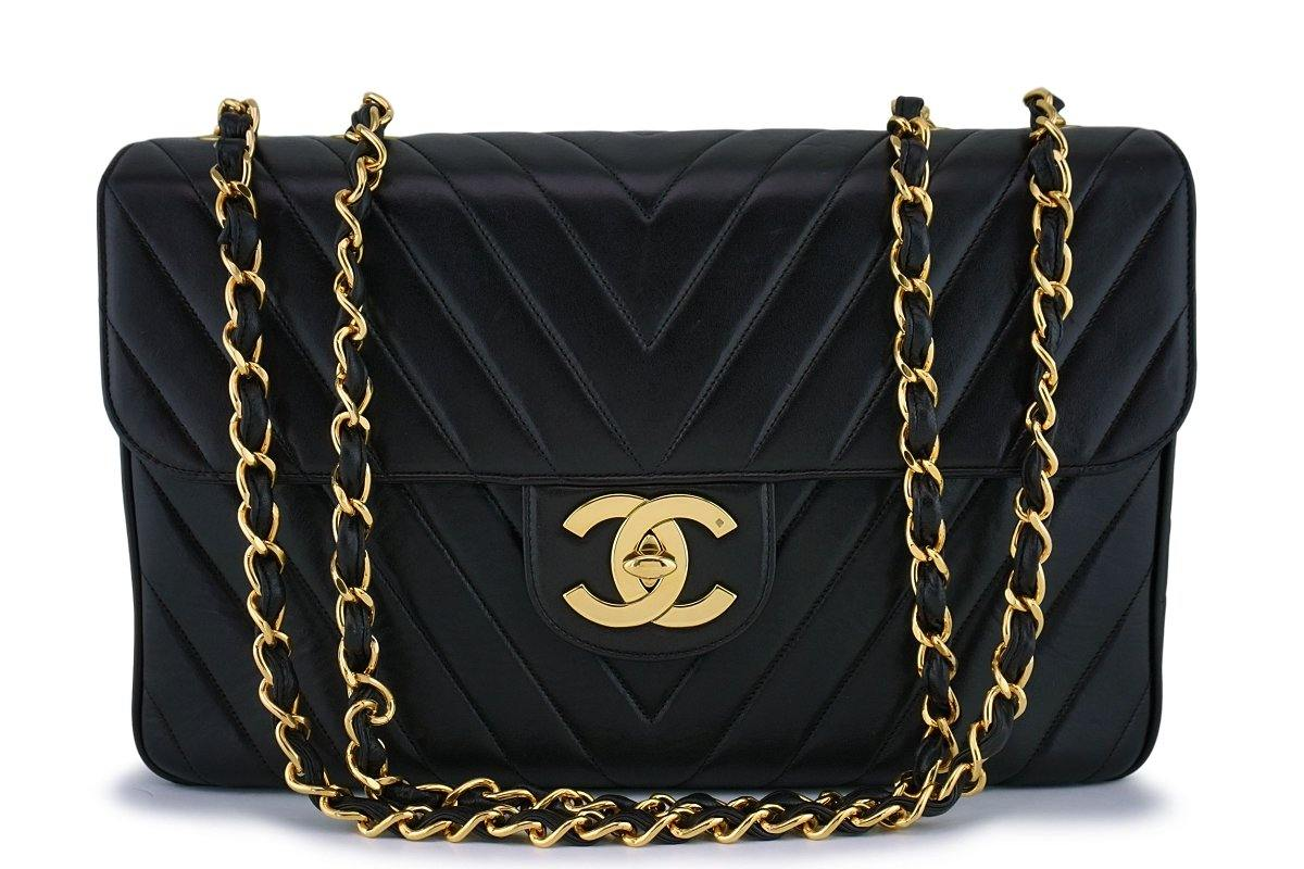 "Chanel Vintage Black Chevron Quilted Maxi ""Jumbo XL"" Classic Flap Bag 24k GHW"