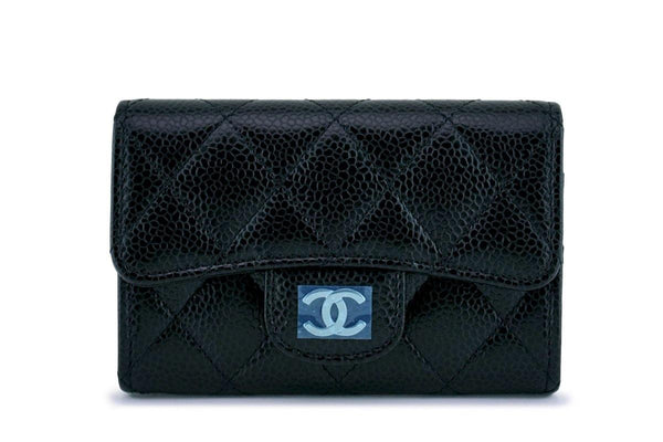 NWT Chanel Black Caviar Compact Flap Snap Card Holder Wallet Case