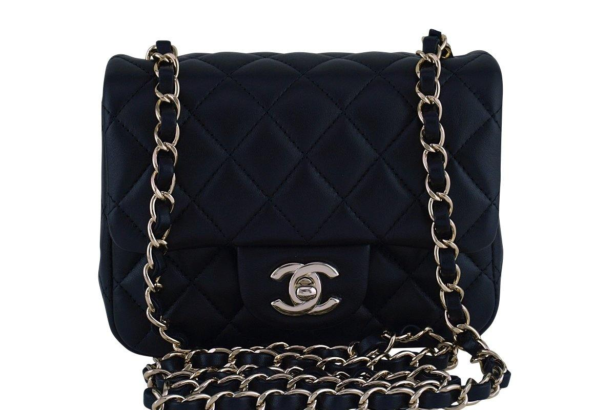 New Chanel Black Classic Quilted Square Mini 2.55 Flap Bag GHW