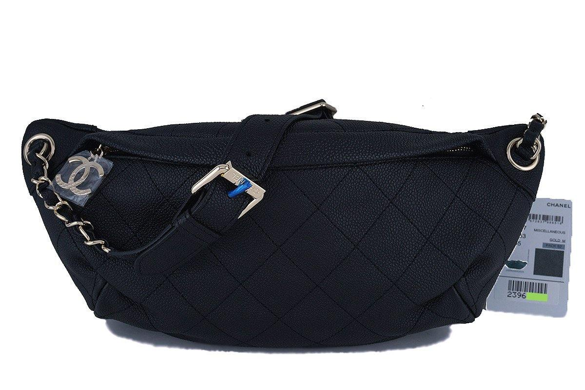 17P NWT Chanel Black Caviar Soft Quilted Classic Fanny Pack Bag