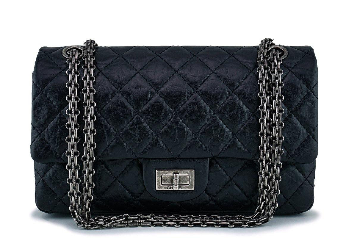 Chanel Black 225 2.55 Classic Reissue Flap Bag Small/Medium RHW