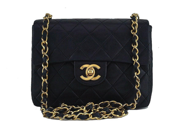 Chanel Black Classic Quilted Square Mini 2.55 Flap Bag 24k Gold plated