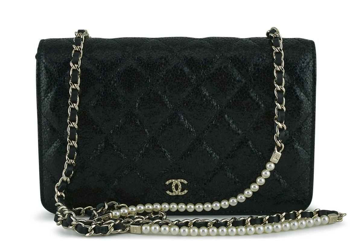 c63d02a89e23 New Chanel Black Rare Fantasy Pearls Wallet on Chain WOC Flap Bag