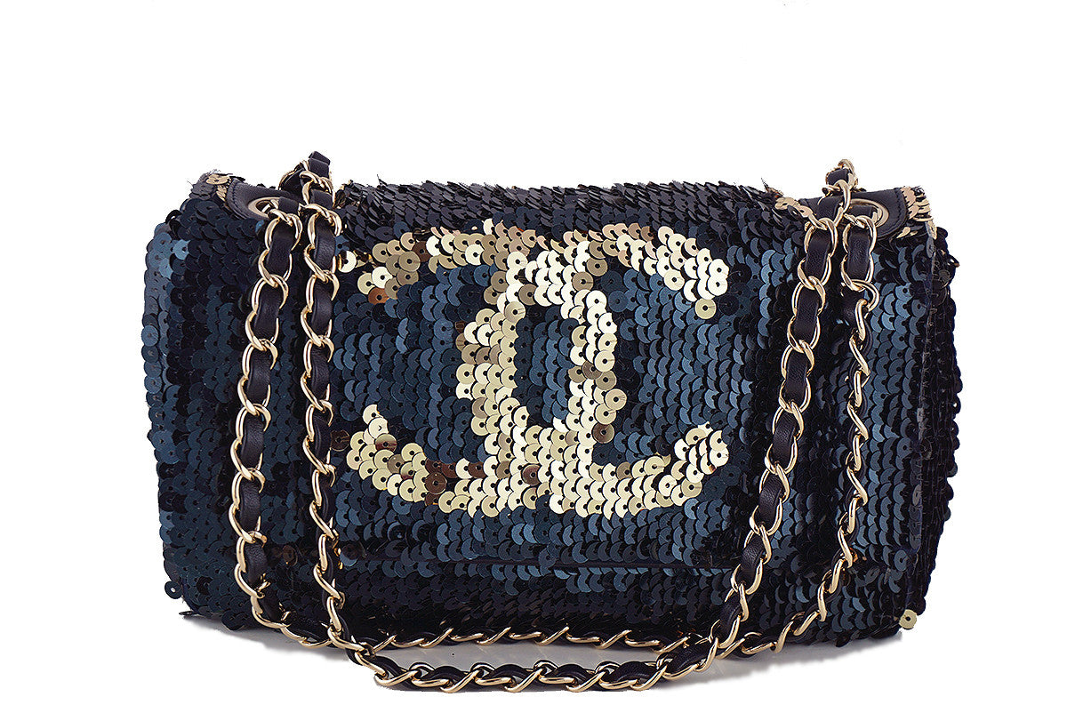 Chanel Navy Gold LIMITED Summer Nights Sequins Reversible Flap Bag