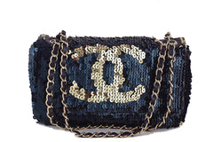 Chanel Navy Gold LIMITED Summer Nights Sequins Reversible Flap Bag - Boutique Patina  - 1