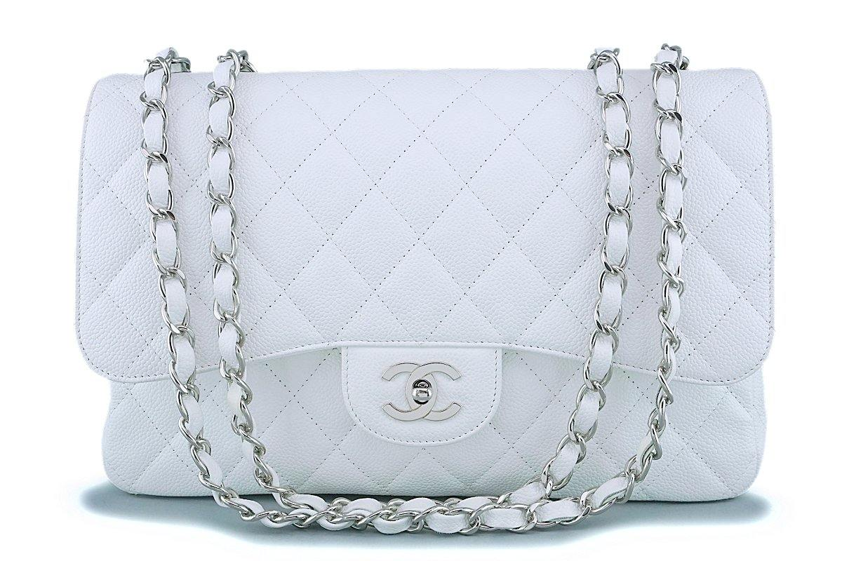 Chanel White Caviar Jumbo Classic Flap Bag SHW - Boutique Patina