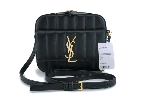 NWT New YSL Saint Laurent Black Vicky Camera Crossbody Bag