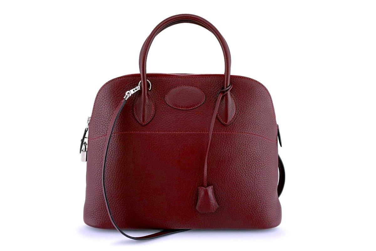 Hermes Rouge H Red Clemence Bolide 35/37 Bag - Boutique Patina