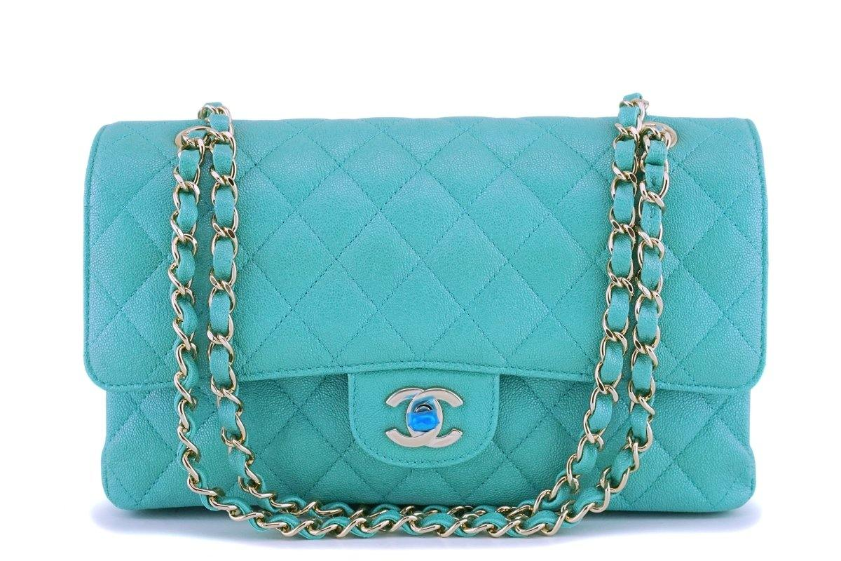 NIB 19S Chanel Iridescent Turquoise Green Caviar Medium Classic Double Flap Bag GHW