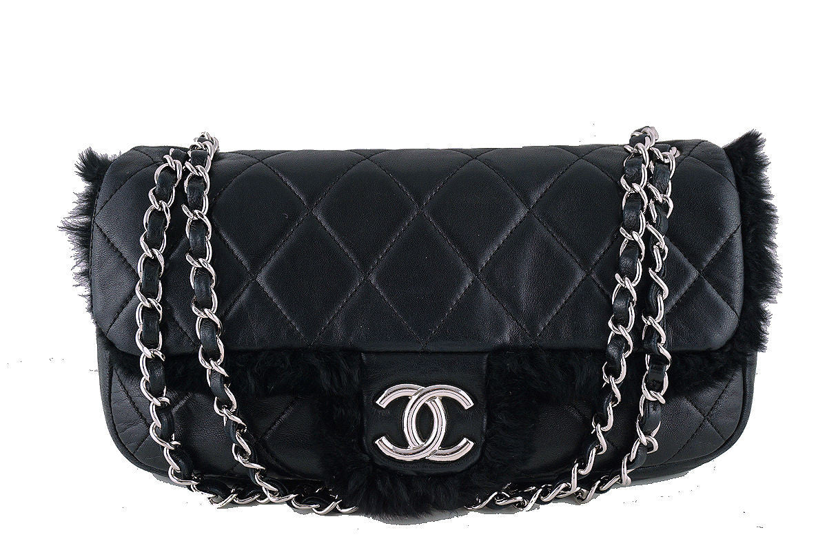 Chanel Classic Flap, Black Luxury Lambskin Fur 2.55 Bag - Boutique Patina  - 1
