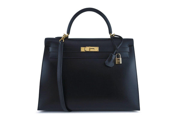 Hermes Black 35cm Box calf Kelly Sellier Bag