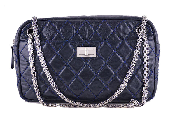 Chanel Navy Blue Classic 2.55 Reissue Camera Case Bag