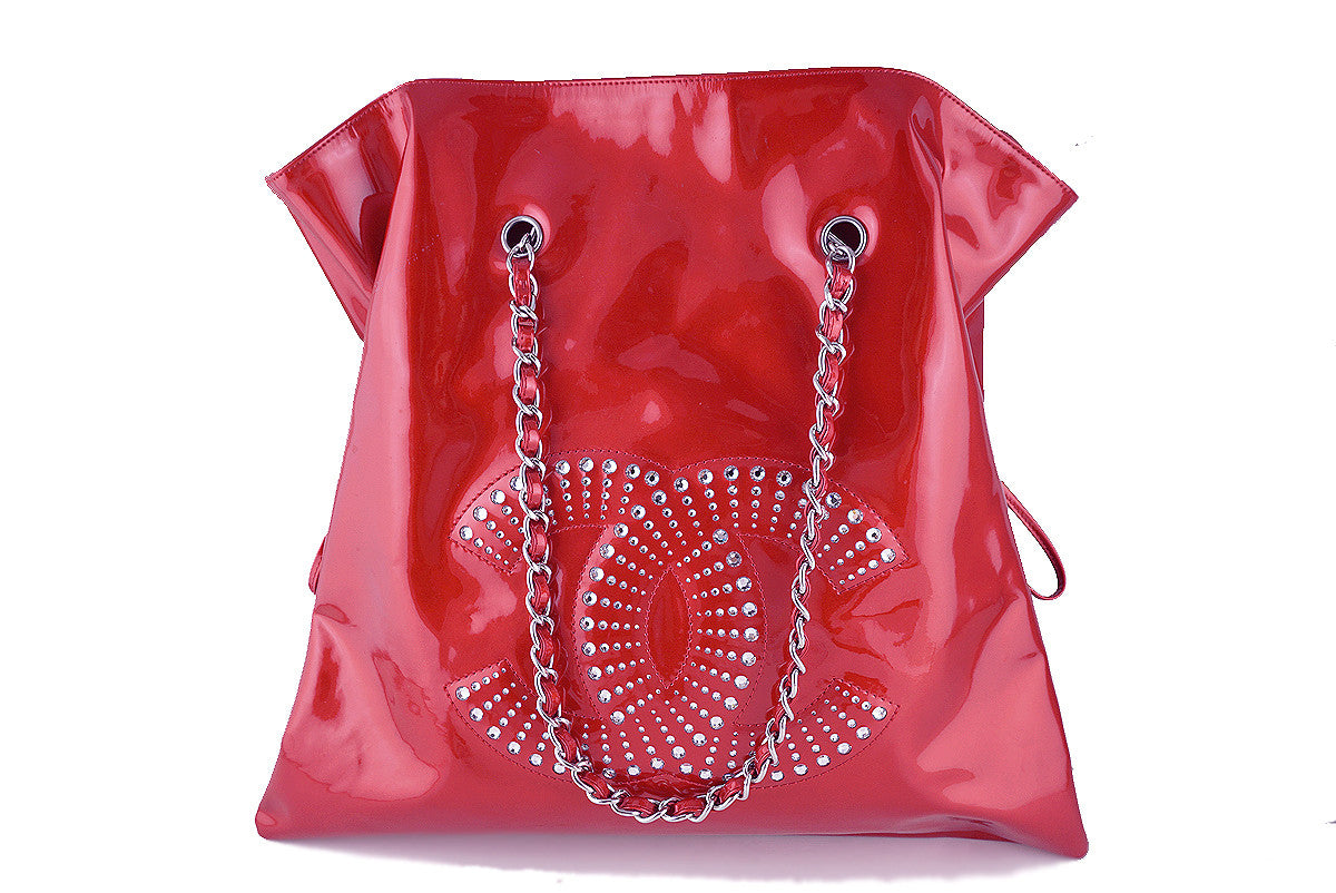 Chanel Red Patent Strass Crystals Bon Bons Tote Bag