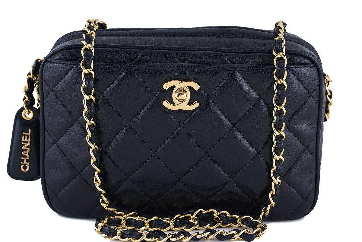 Chanel Black Quilted Classic Camera Case CC Clasp Pocket  Bag