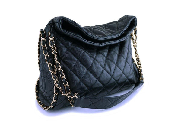 Chanel Black Quilted Chain Around Hobo Bag GHW