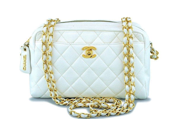 Chanel Vintage White Caviar Classic Camera Case Bag 24k GHW