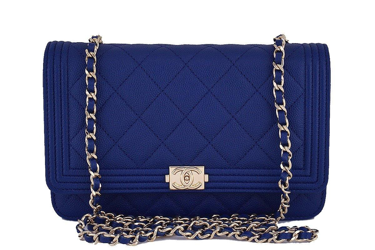 68388d9a43d3 NWT 16B Chanel Caviar Blue Boy Classic Quilted WOC Wallet on Chain Fla