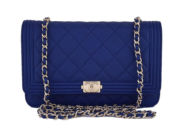 NWT 16B Chanel Caviar Blue Boy Classic Quilted WOC Wallet on Chain Flap Bag