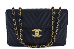 Chanel Black Vintage Caviar Chevron Maxi Classic Jumbo XL Flap Bag