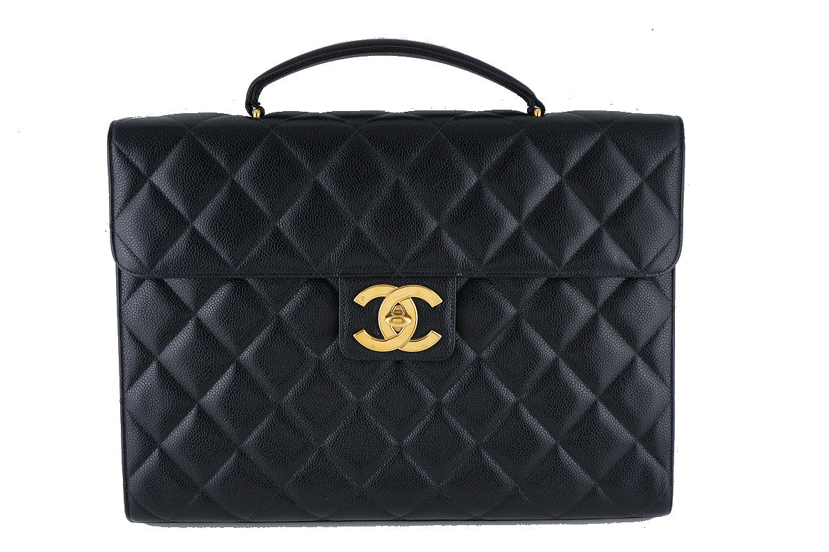 Chanel Black Caviar Briefcase Flap Tote Bag