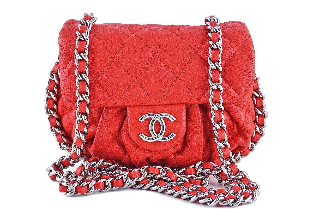 Chanel Red Chain Around Mini Classic Flap, Small Crossbody Bag