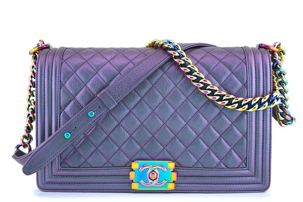 16C Chanel Iridescent Purple Mermaid Rainbow Classic Medium Large Boy Bag