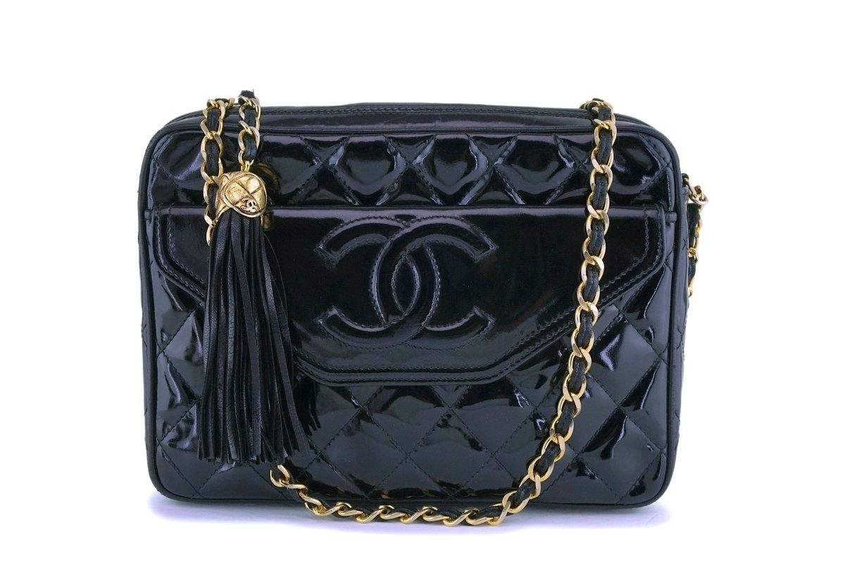 Chanel Vintage Black Patent Camera Case Bag 24k GHW