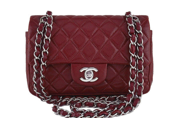Chanel Caviar Dark Red Classic Quilted Rectangular Mini 2.55 Flap Bag