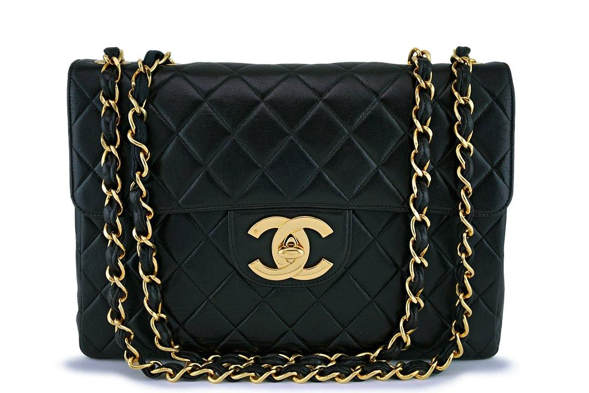 Chanel Vintage Black Lambskin Jumbo Flap Bag 24k GHW