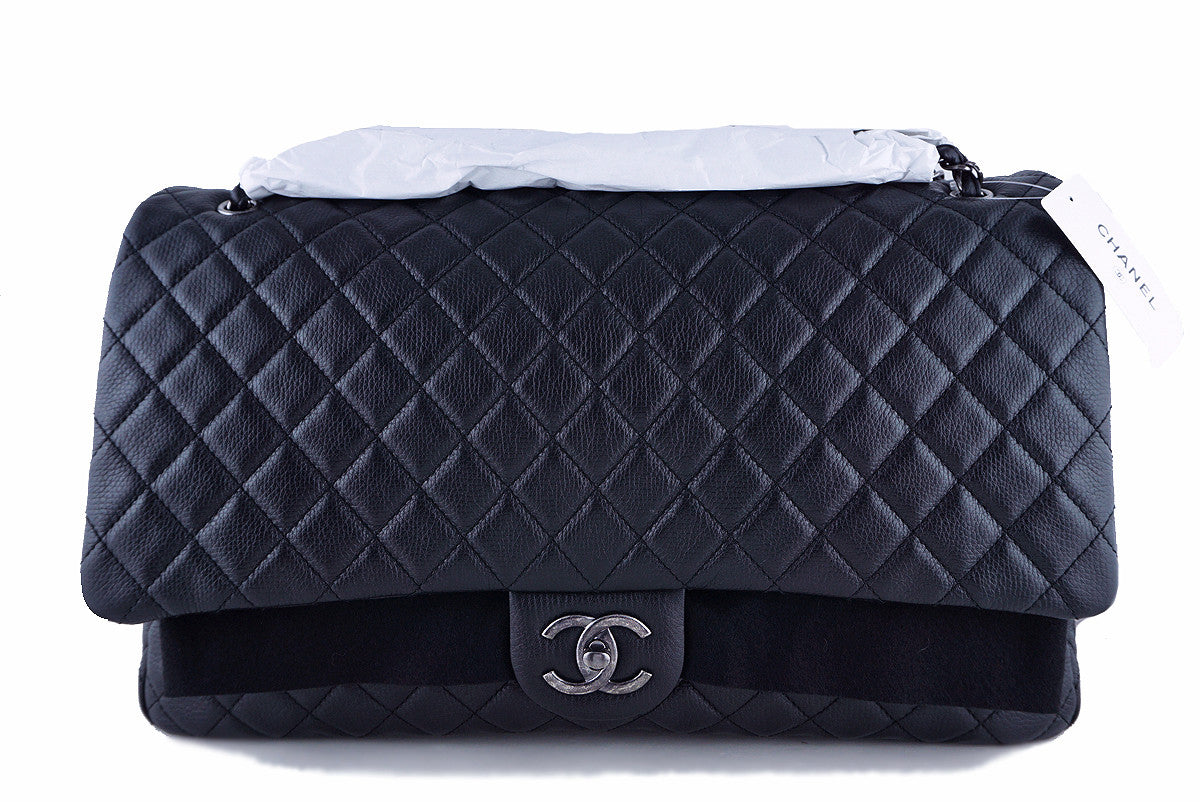NWT 16S Chanel Black Calf 18in. XXL Runway Travel Classic Flap Bag - Boutique Patina  - 1
