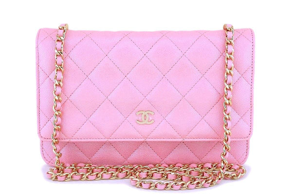 NIB 19S Chanel Iridescent Pearly Pink Caviar Wallet on Chain WOC Flap Bag