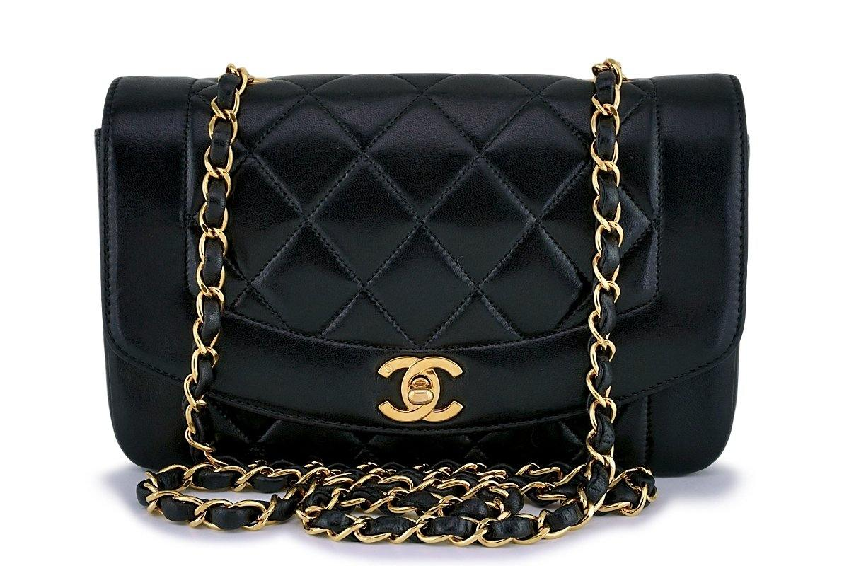 Chanel Vintage Black Lambskin Small Diana Flap Bag 24k GHW