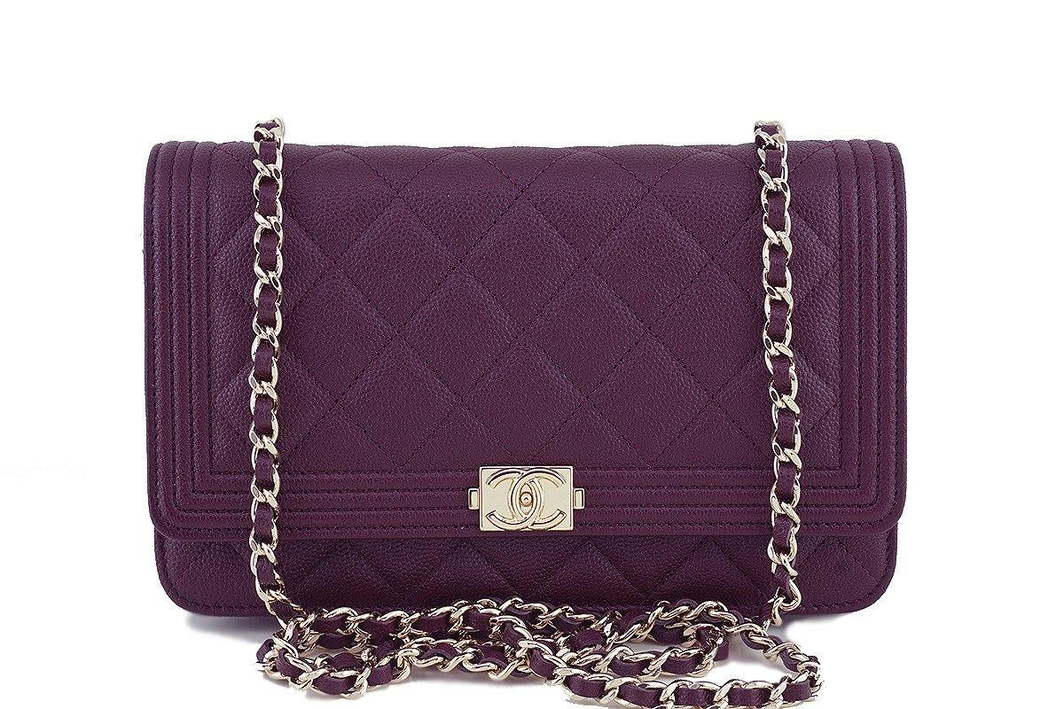 70dbe65cdc3829 NWT 16B Chanel Purple Caviar Boy Classic Quilted WOC Wallet on Chain F