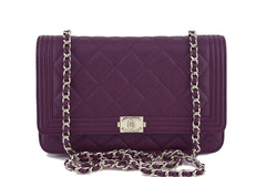 NWT 16B Chanel Purple Caviar Boy Classic Quilted WOC Wallet on Chain Flap Bag