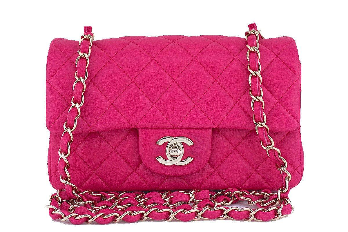 Chanel Fuchsia Pink Classic Quilted Rectangular Mini 2.55 Flap Bag, GHW
