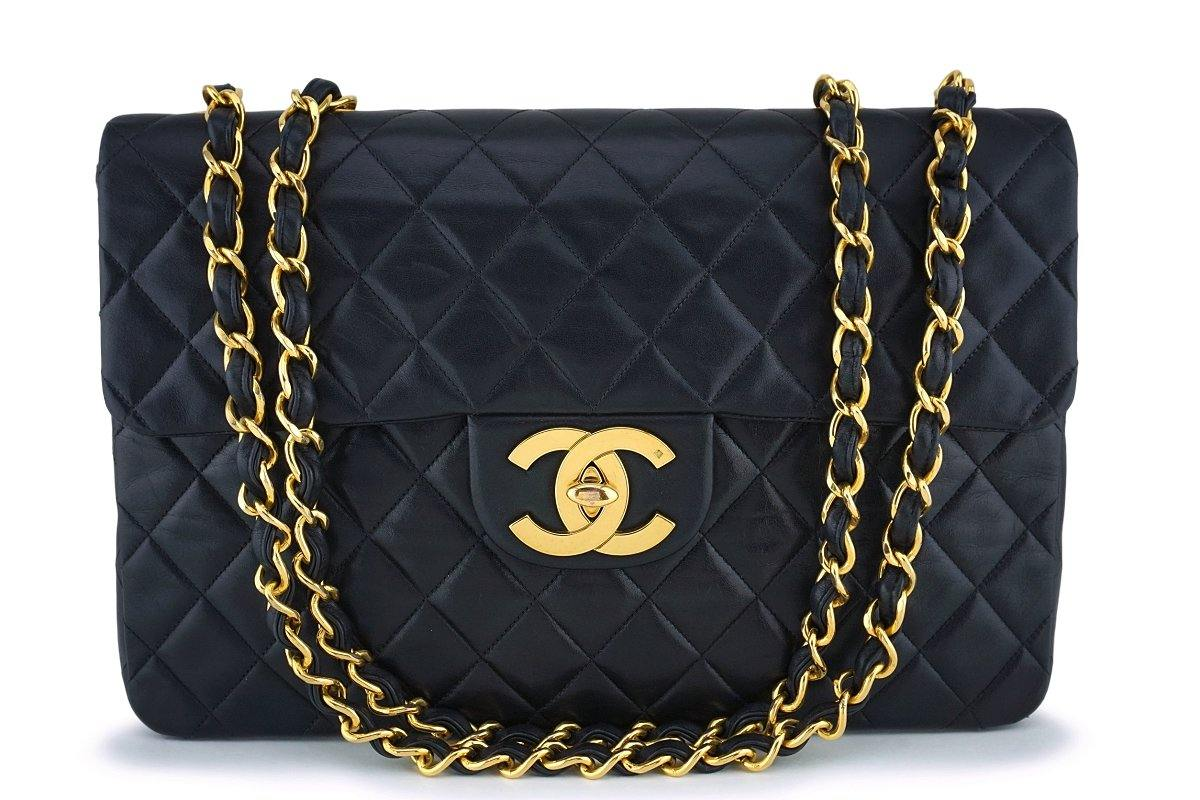 Chanel Black Lambskin Vintage Maxi Classic Flap Bag 24k GHW