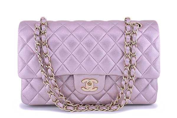 Rare Chanel 14B Rose Gold Metallic Pink Goatskin Classic Double Flap Bag