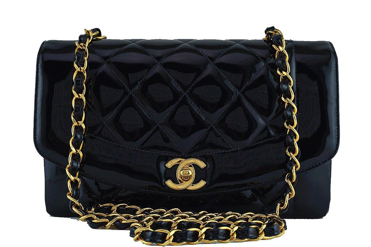 "Chanel Vintage Black Patent Quilted Classic ""Diana"" Shoulder Flap Bag 24k gold plated"
