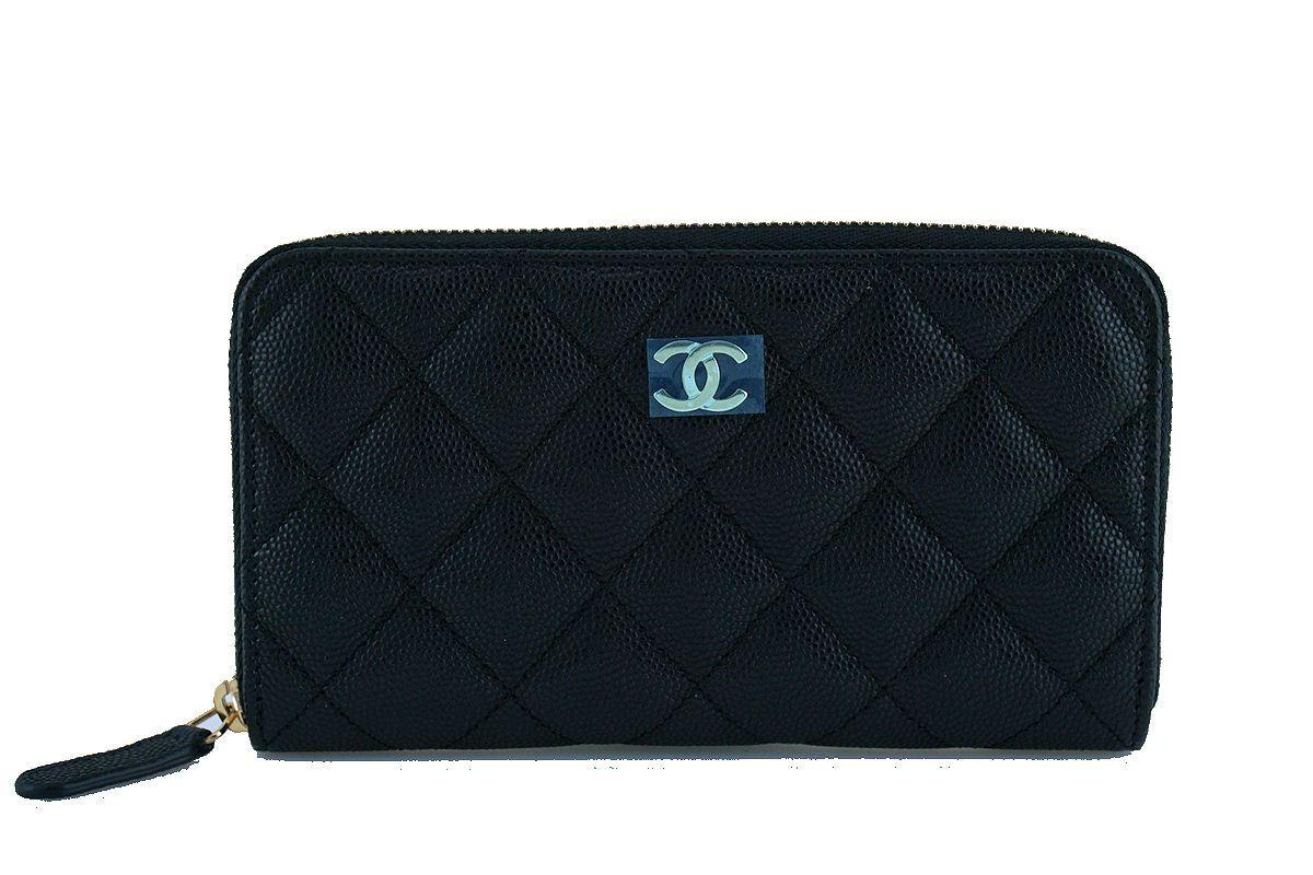 NWT 17C Chanel Black Caviar Zip Around Small Card Wallet Case GHW