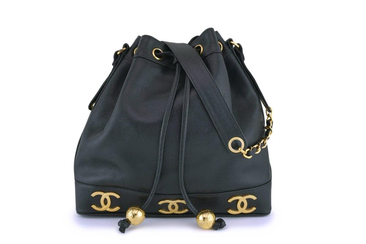 Chanel Vintage Black Caviar Drawstring Bucket Bag 24k GHW