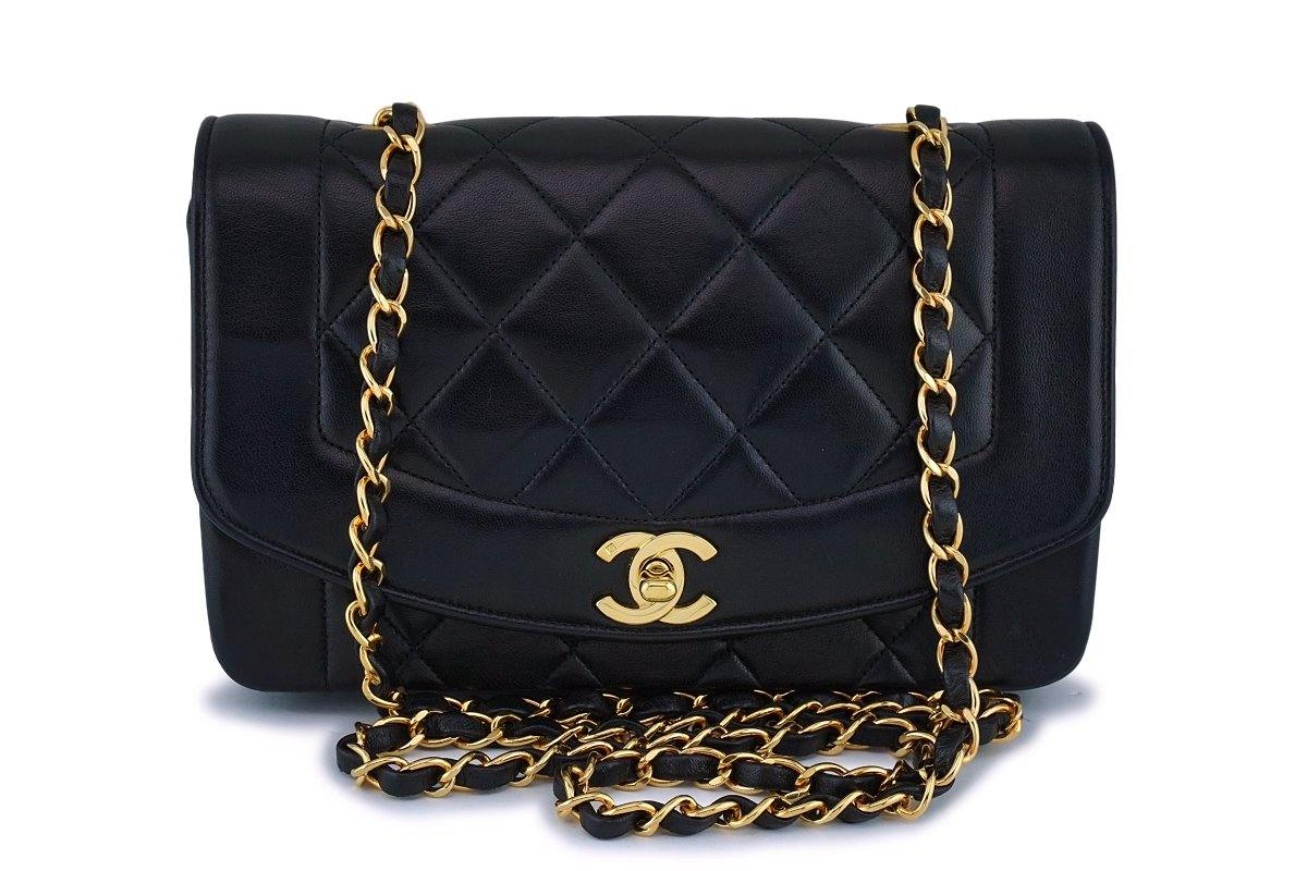 Chanel Vintage Black Small Lambskin Classic Diana Flap Bag 24k GHW