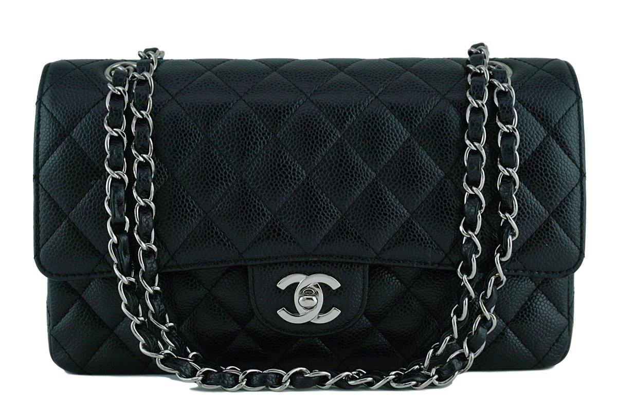Chanel Black Caviar Medium Classic 2.55 Double Flap Bag SHW