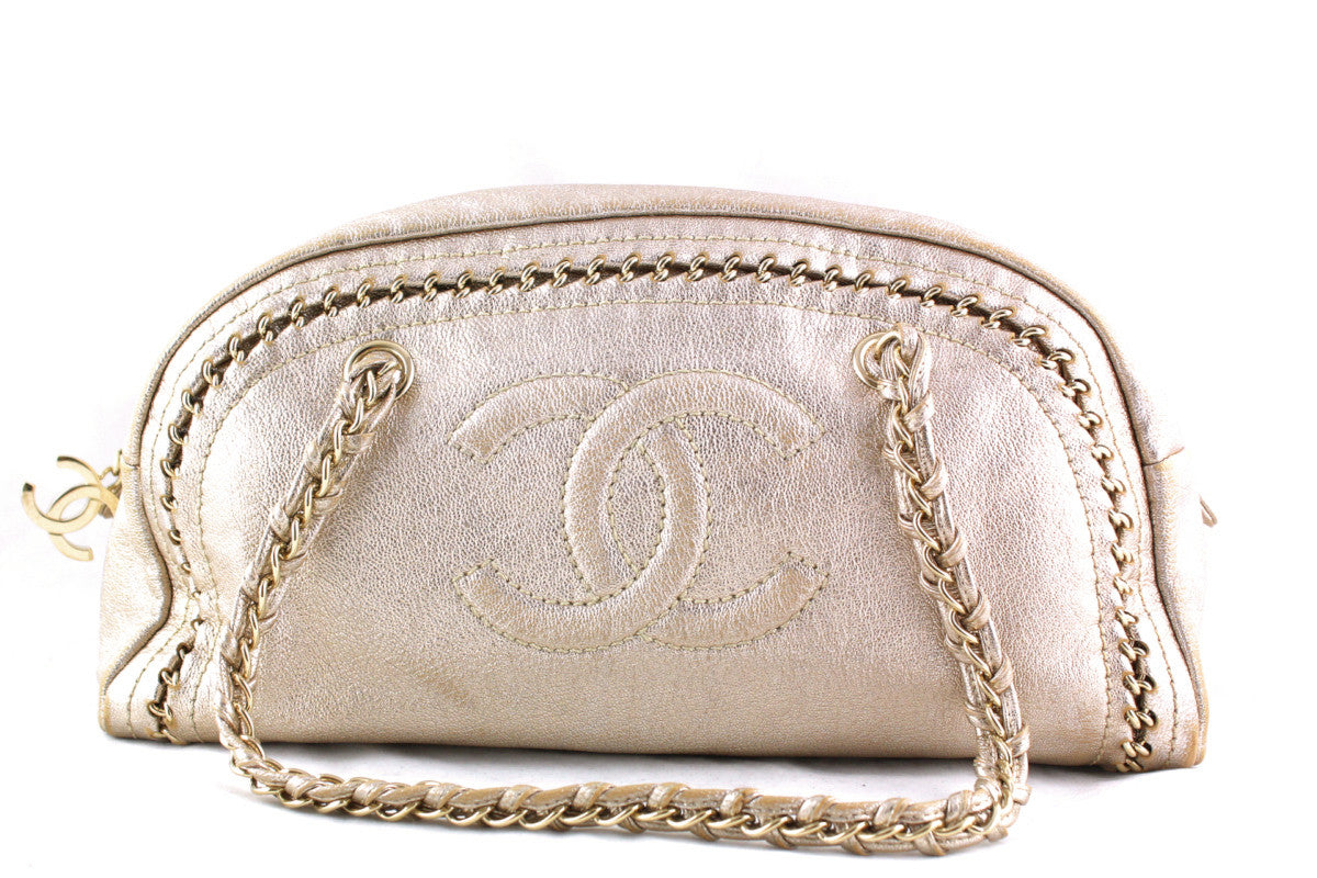 Chanel Gold Distressed Luxury Ligne Bowler Bag