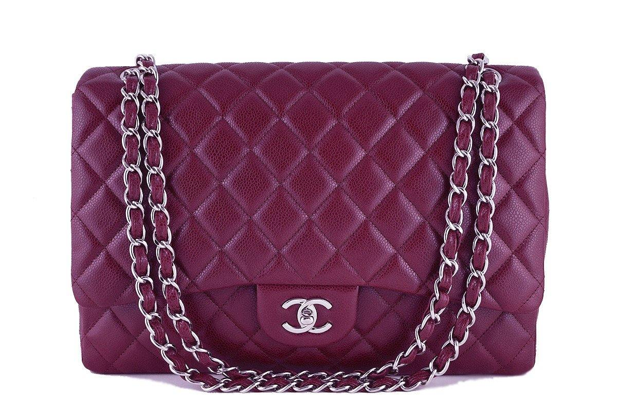 Chanel Dark Red 13in. Caviar Maxi Quilted Classic 2.55 Jumbo XL Flap Bag
