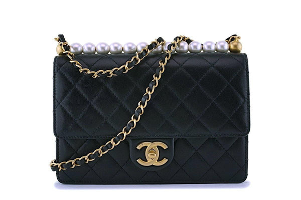 NIB Chanel Chic Pearls Black Classic Flap Bag GHW