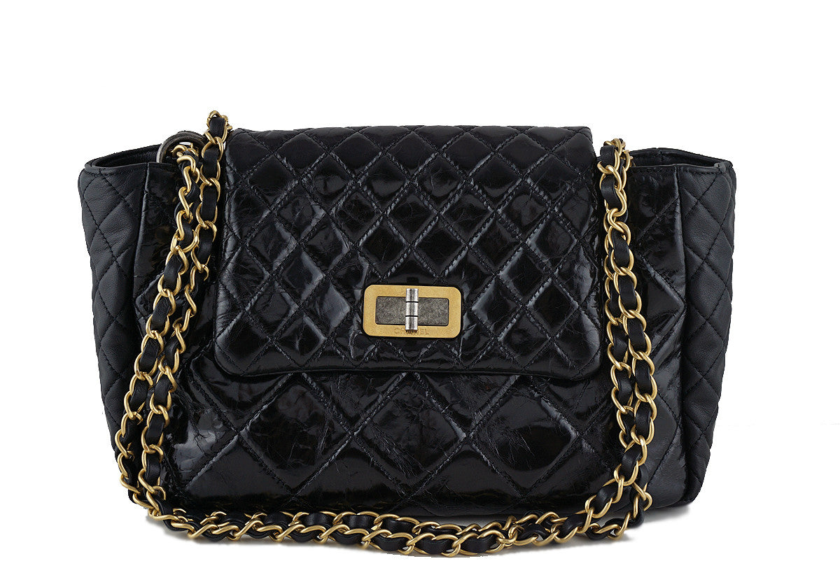 Chanel Black Two-tone Reissue Lock Quilted Tote Flap Bag