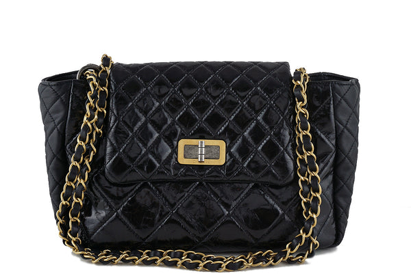 824f56a9bd0 Chanel Black Two-tone Reissue Lock Quilted Tote Flap Bag