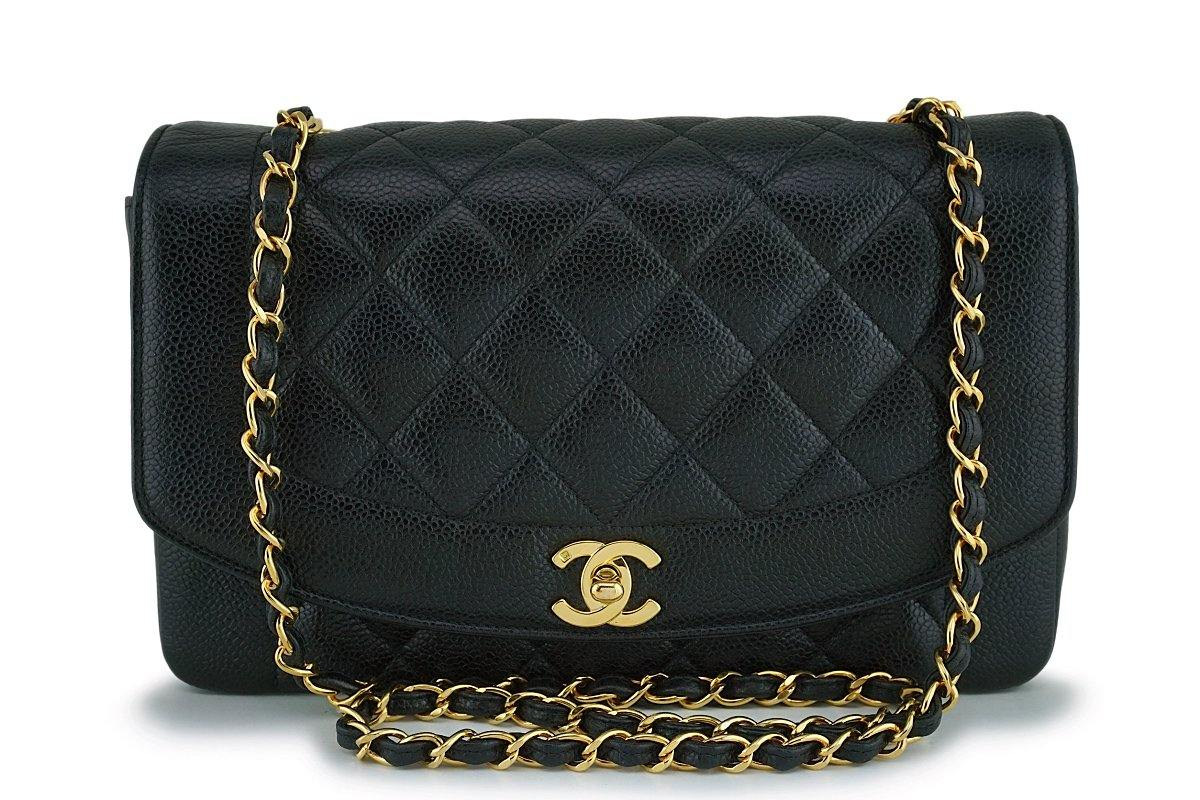 Chanel Black Vintage Caviar Medium Diana Classic Flap Bag 24k GHW - Boutique Patina