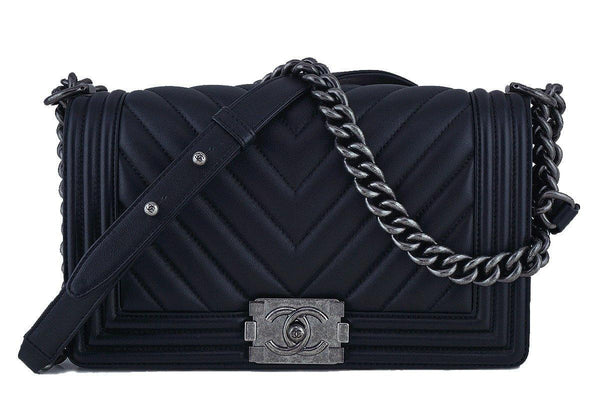 Chanel Black Chevron Medium Le Boy Classic Flap Bag